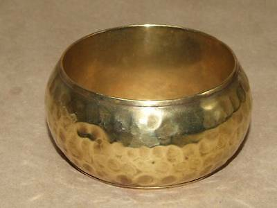 Vintage 70s WIDE Hammered Brass Hollow Domed Bangle Bracelet INDIA 1.5 X 8""