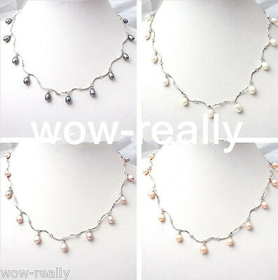 Jewel white Pink Purple Black freshwater pearl beads White gold plated necklace