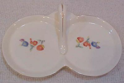"""Small 7"""" Twin Circle Japan Porcelain Condiment Serving Platter w Handle FREE S/H"""