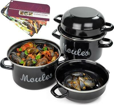 Andrew James Traditional Mussel Pot Set - 2 x 18cm Steel Enamel Dishes With Lids