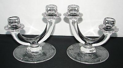 FOSTORIA GLASS 2-LITE CANDLESTICKS ROMANCE ELEGANT ETCHED PATTERN TIERED U SHAPE