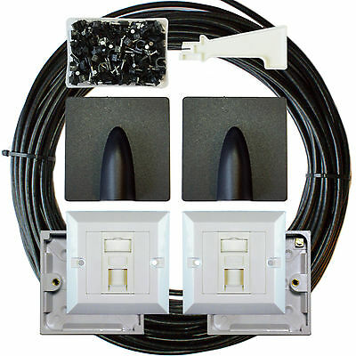 25M CAT6 Extension Outdoor/External Cable Kit - RJ45 Network Ethernet Face Plate