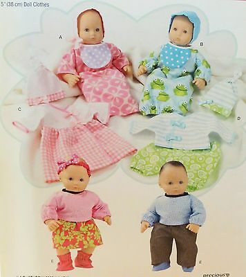 """S1937 Simplicity Doll Clothes Pattern for 15"""" Babydolls, New, Uncut"""