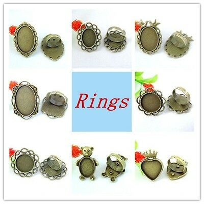 Antiqued Bronze Alloy Ancient Flower Lace Ring Setting Rhinestone Jewelry Size7