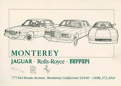 1987 Jaguar Rolls Royce Ferrari Dealer Large Factory Postcard my2045