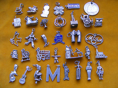 SS VARIOUS VINTAGE STERLING SILVER CHARM GUITAR M CHURCH BIBLE RINGS DOVE PIXIE