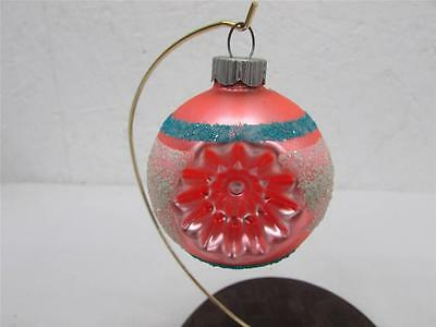 Vintage Christmas Shiny Brite Double Indent Glass Ornament Satin Peach Mica Snow