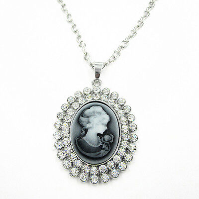Vintage Grey Cameo Ladies n Clear Crystal Rhinestone Long Chain Necklace 27.5""