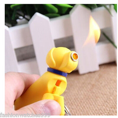 Dog Shape KeyChain Refillable Butane Cigar Cigarette Normal Flame Lighter Yellow