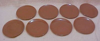 "Set 8 Mid-Century USA Chocolate Brown Vintage Melamine 6"" Side Plates FREE S/H"