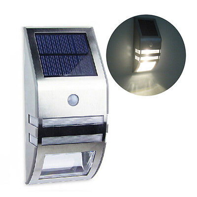 Rechargeable LED Sun Solar Powered Lamp Stainless Steel Pathway Staircase Light