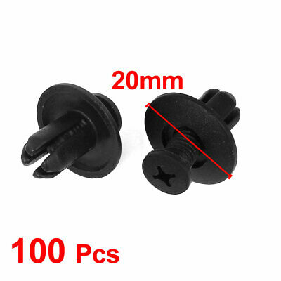 Black Plastic Rivets Fastener Fender Car Bumper Push Clip 12mm x 8mm 100 Pcs