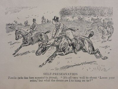 Hunting, Fox & Hounds WHO HAS BEEN MOUNTED BY FRIEND Antique Punch Cartoon