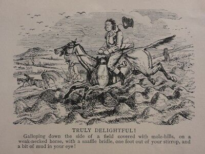 Hunting, Fox & Hounds TRULY DELIGHTFUL! - MOLE HILLS...... Antique Punch Cartoon