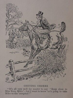 Hunting, Fox & Hounds OBEYING ORDERS Antique Punch Cartoon