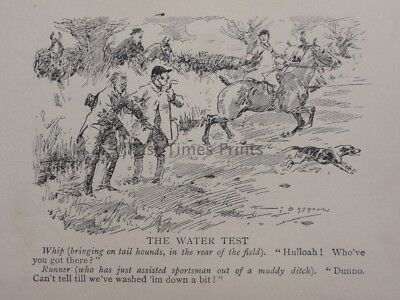Hunting, Fox & Hounds THE WATER TEST!!!............... Antique Punch Cartoon