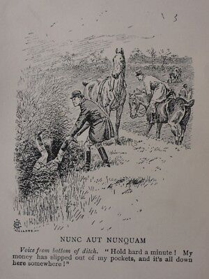 Hunting, Fox & Hounds NUNC AUT NUNQUAM - VOICE FROM DITCH Antique Punch Cartoon