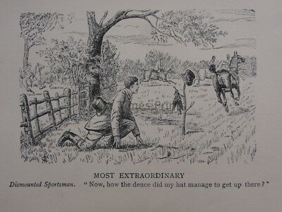 Hunting, Fox & Hounds MOST EXTRAORDINARY, DISMOUNTED Antique Punch Cartoon