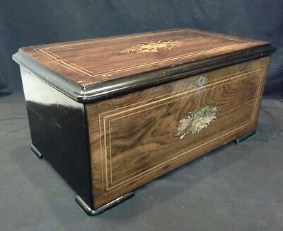 53988 ANTIQUE 1890s SWISS CYLINDER MUSIC BOX CASE W INLAY ROSEWOOD