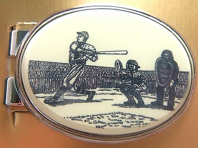 Money Clip Oval Barlow Scrimshaw Carved Painted Art Baseball Bill Holder 539416