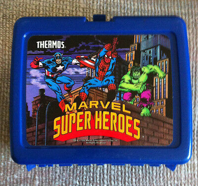 1990 MARVEL SUPER HEROES LUNCH BOX WITH AMAZING SPIDER-MAN THERMOS