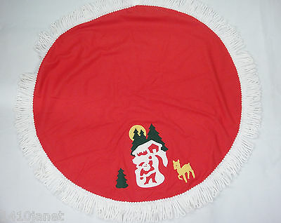 "Vintage Childs Red Christmas Tablecloth 33"" Round Santa Reindeer Yarn Fringe"