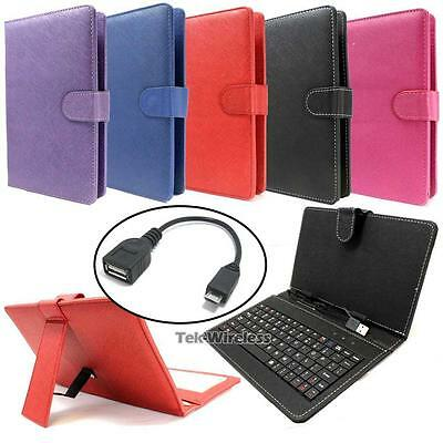 """PU Leather USB 2.0 Port Travel Keyboard Case Cover Stand For 7"""" Tablet PC"""