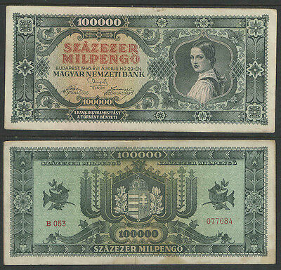 HUNGARY 1946 WW II 100,000 MILLPENGO CURRENCY Catalog P127 VG or BETTER