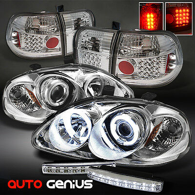 96-98 CIVIC 4DR CCFL PROJECTOR HEADLIGHTS + PHILIPS-LED TAIL LIGHTS + DRL LED