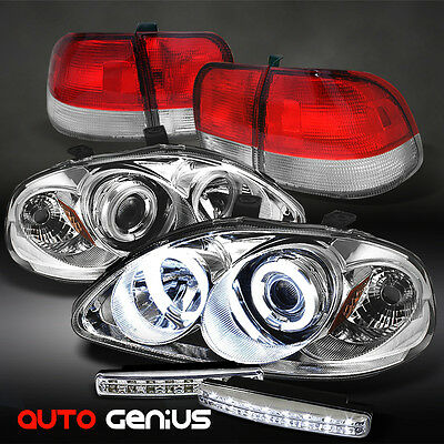 96-98 CIVIC 4DR CCFL PROJECTOR HEADLIGHTS + RED CLEAR TAIL LIGHTS + DAYTIME LED