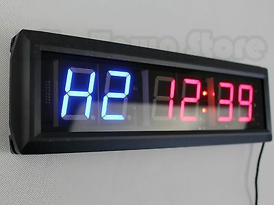 "Crossfit  LED 6-Digits Interval Timer Wall Clock w/Remote Garage WOD 14""x4""x1.5"""