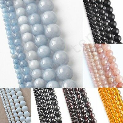 """Natural Round Crystal Obsidian Garnet Gemstone Loose Spacer Beads Charms 16"""""""