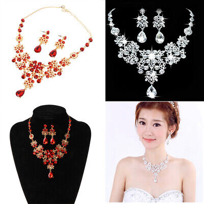 Red Crystal Earrings Necklace Sets Wedding Party Bridal Bridesmaid Jewellery