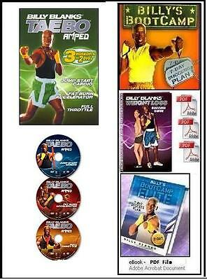 3 Billy Blanks Tae Bo GET AMPED TAEBO Workout DVD's + FREE Fitness Bonuses!