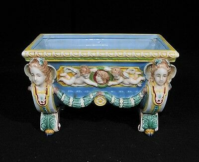 English Majolica Porcelain Planter Cherub Pot Stand