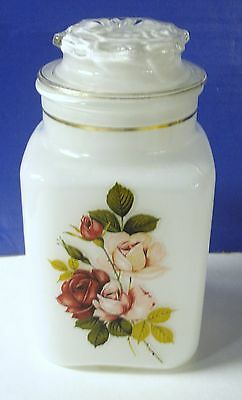 Vintage Square Glass Apothecary Style Jar Canister White Inside / Red/Pink Roses