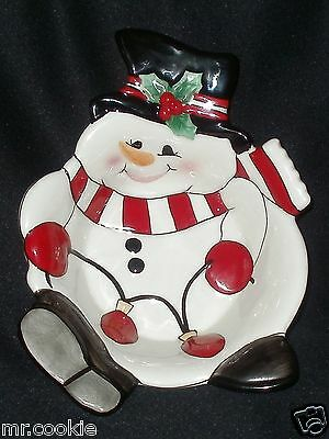 Fitz & Floyd Classics Snowman Cheers Small Dish / Individual Snack Bowl