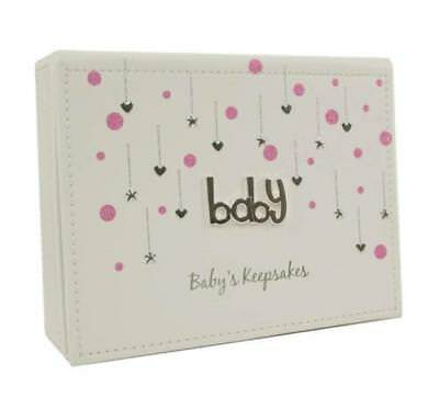 White and Pink Faux Leather Baby Girl Keepsake Box Gift 77007