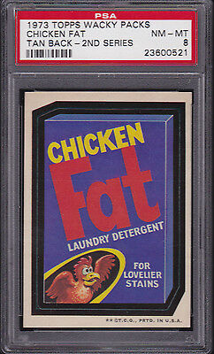 1973 Topps Wacky Packages CHICKEN FAT (TB) PSA 8 NM/MT Series 2 PACKS