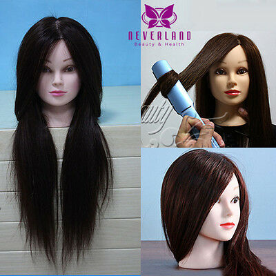 """24"""" 50% Real Human Hair Training Head Cosmetology Mannequin + Table Clamp US"""