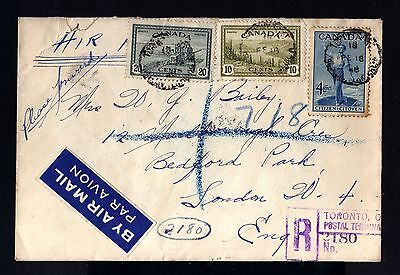 8246-CANADA-AIRMAIL REGISTERED COVER TORONTO to LONDON(england) 1948.WWII.