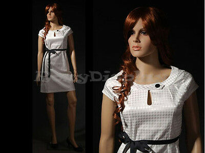 Female Unbreakable Plastic Manikin Manequin Display Dress Form G2 + Free Wig