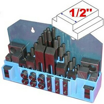 "58 pc 1/2"" Slot 3/8"" Stud HOLD DOWN CLAMP CLAMPING SET KIT for BRIDGEPORT MILL"