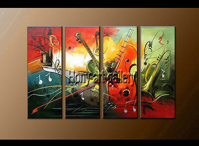 Large Modern Abstract musical oil painting Wall Art Canvas Framed Handmade F8156