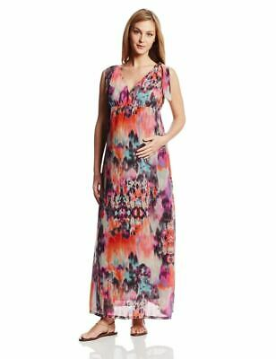 New Japanese Weekend Maternity Nursing Sleeveless Chiffon Goddess Maxi Sun Dress