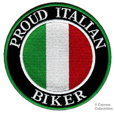 PROUD ITALIAN BIKER embroidered PATCH ITALY EMBLEM FLAG iron-on TOPPA ITALIA