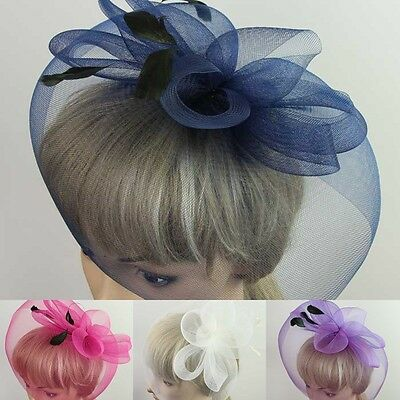New Girl Lady Mini Hat Cap Feather Fascinator Hair Clip Accessory Wedding Party
