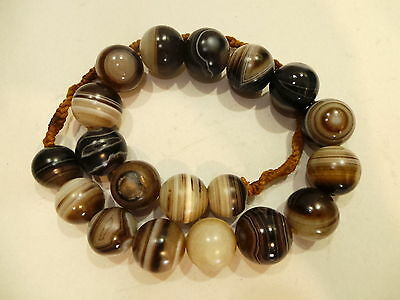 Old Afghanistan Ethnic Round Shaped Bended Agate Bead Necklace (7)阿富汗缠丝玛瑙珠子