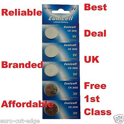 5 x 3V CR2032 LITHIUM BUTTON CELL BATTERIES EUNICELL UK- BRANDED-RELIABLE!!!