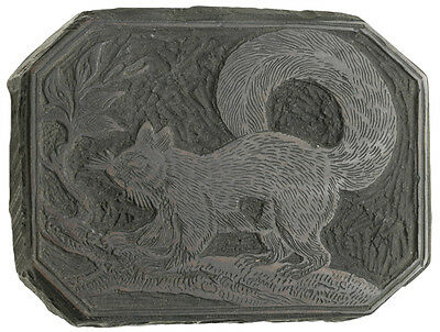 c. 1800 Printing Woodblock - Squirrel on a Branch